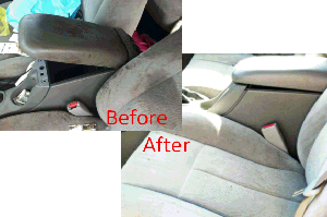 driver seat before and after detailing